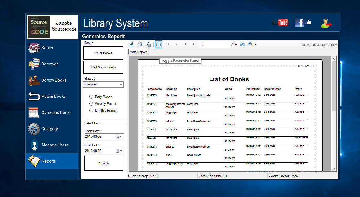 Library System in VB Net Integrated with Bunifu Framework