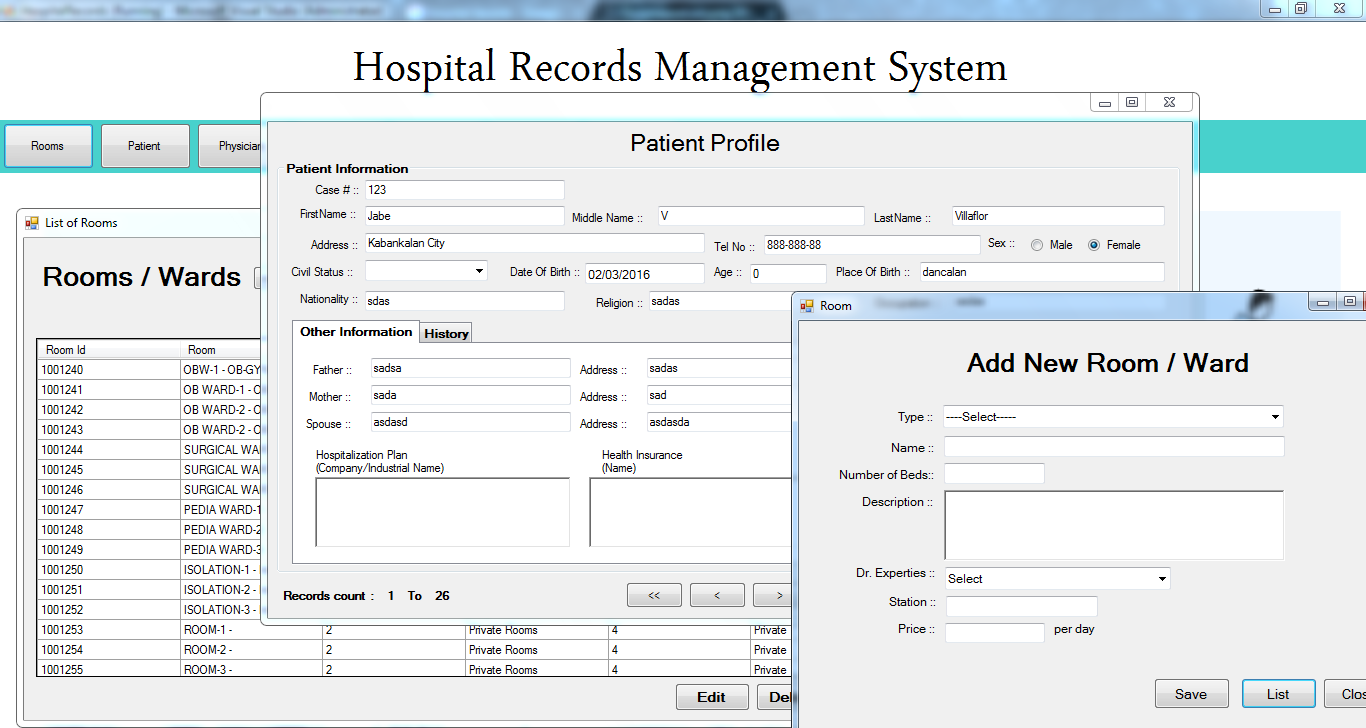 Hospital Record Management System Free Source Code