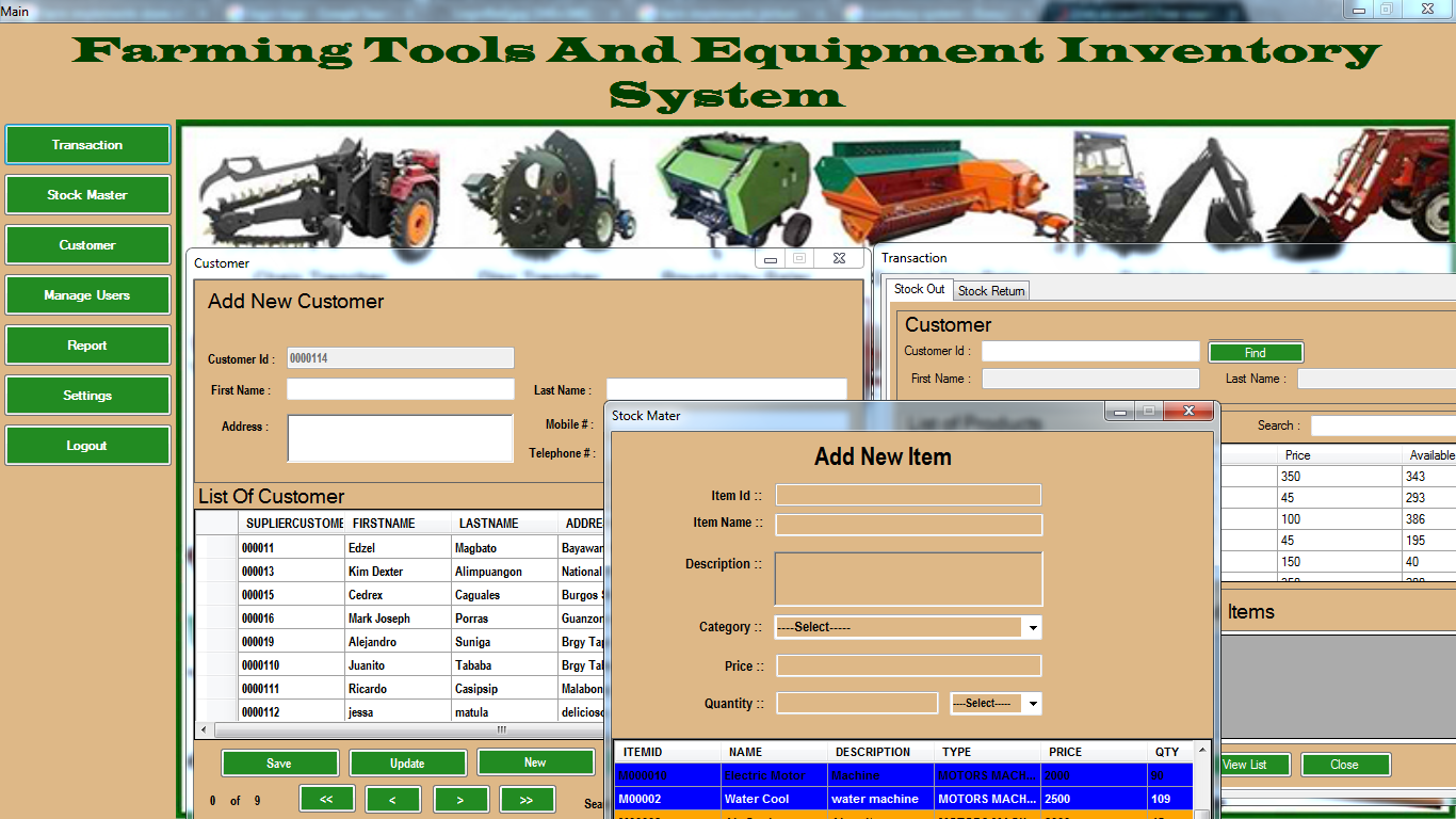 farming tools and equipment inventory system free source code