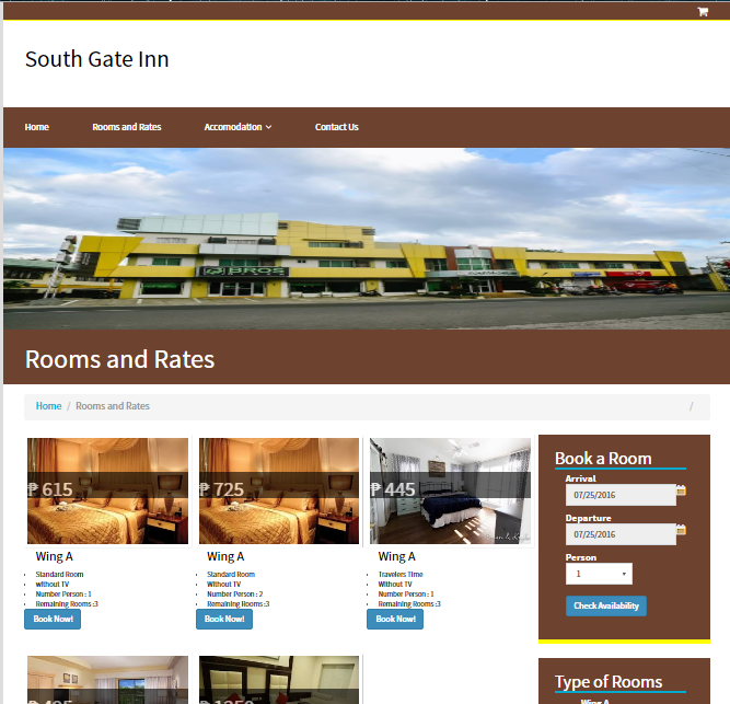 South Gate Inn Online Reservation System | Free Source Code