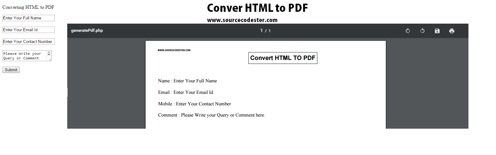 Convert HTML To PDF Using PHP