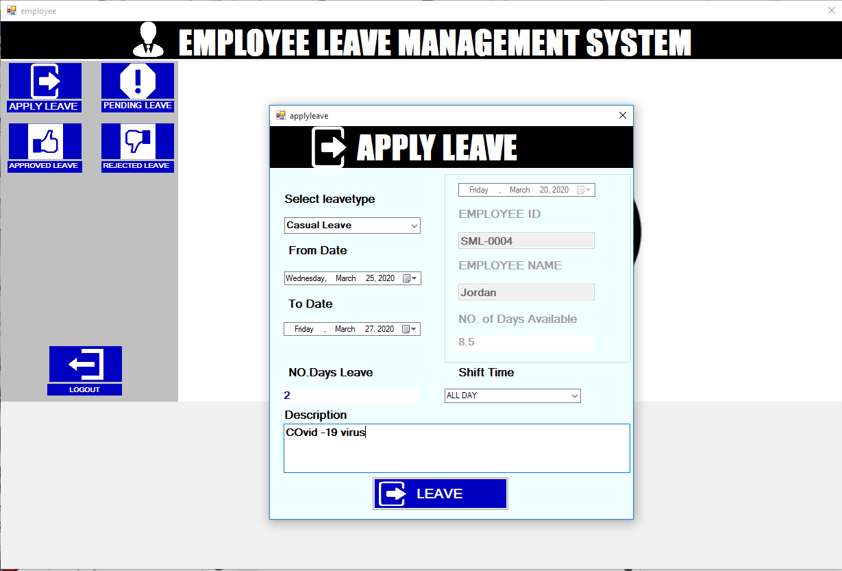 Employee Apply Leave