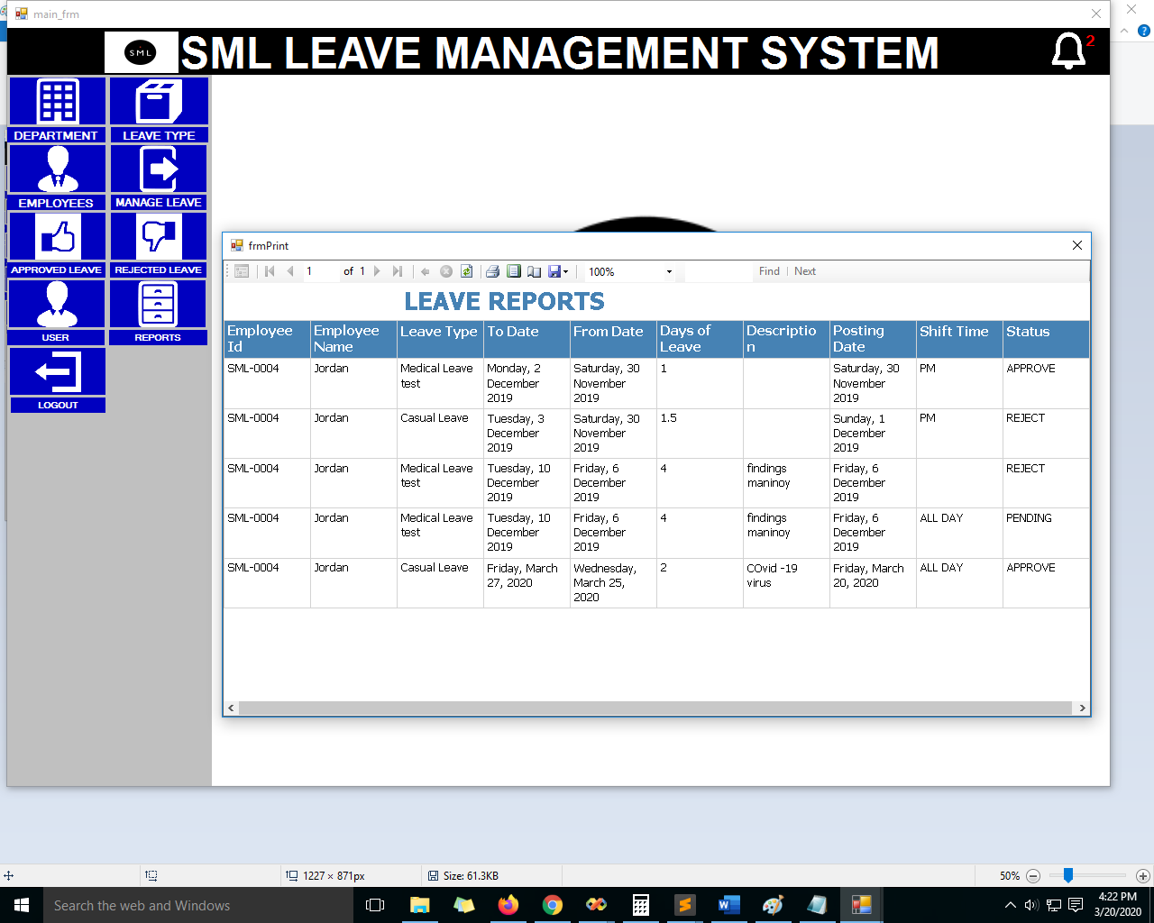 List of Leave Reports