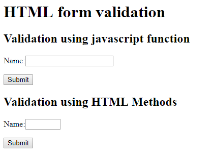 HTML Form Elements Validation Using JavaScript and DOM