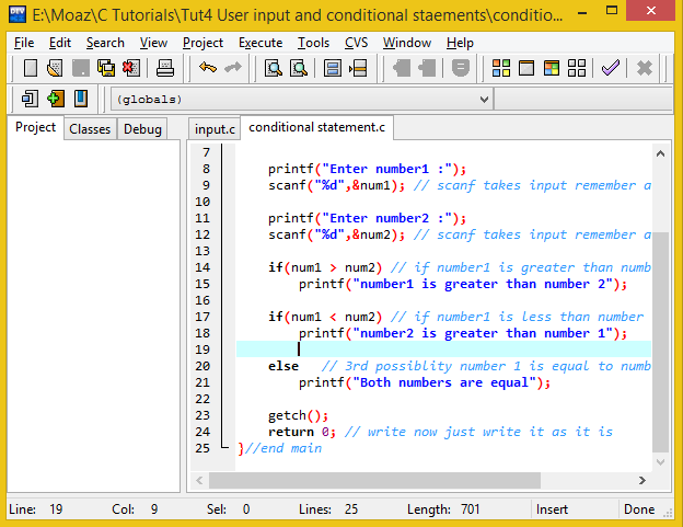 User Input And Conditional Statements Free Source Code