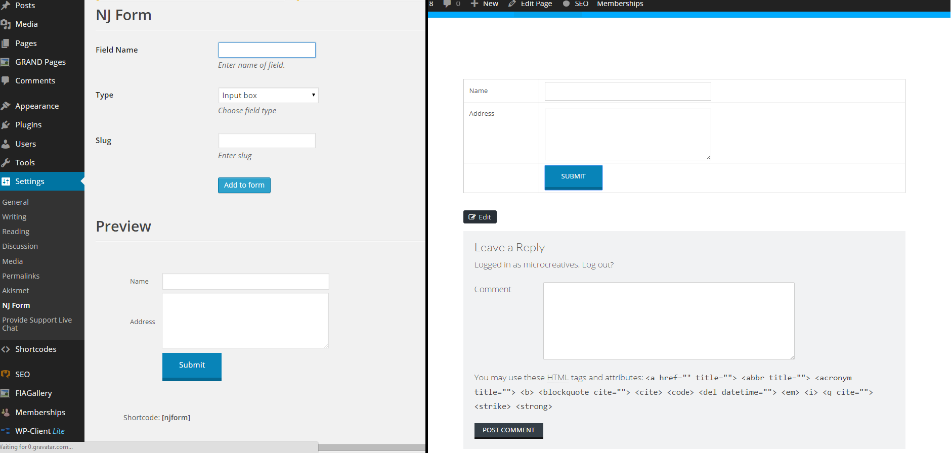 njform simple contact form wordpress plugin
