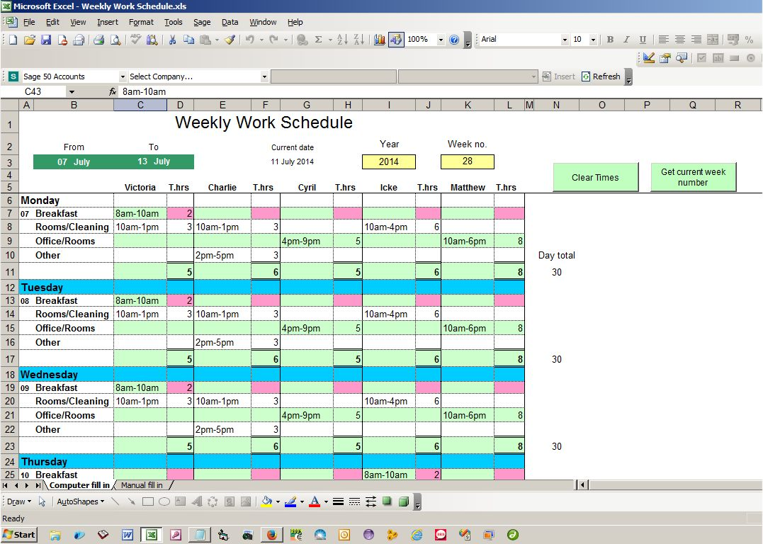 making a work schedule