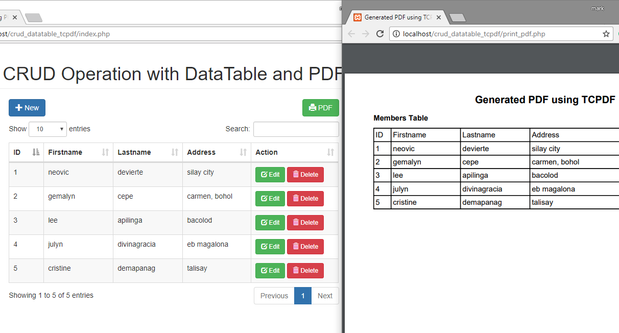 CRUD Operation using PHP/MySQLi with DataTable and PDF