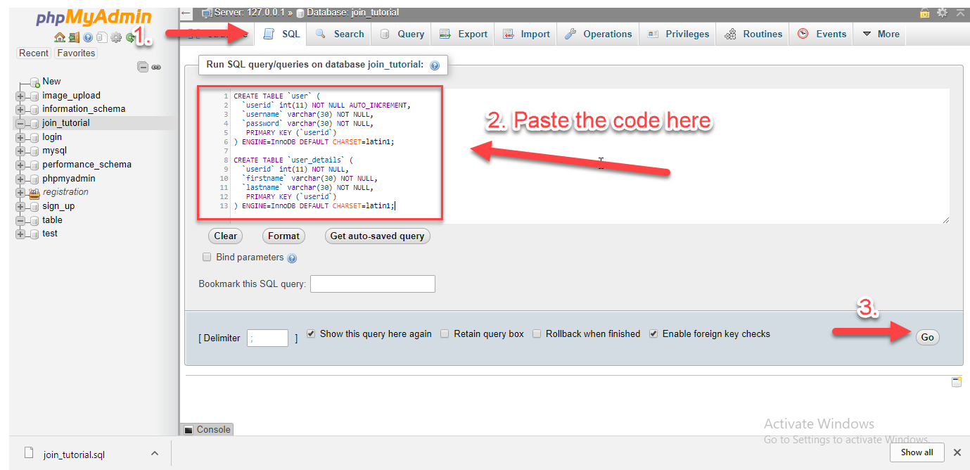 Joining table using left join phpmysql free source code inserting data into our tables gamestrikefo Gallery