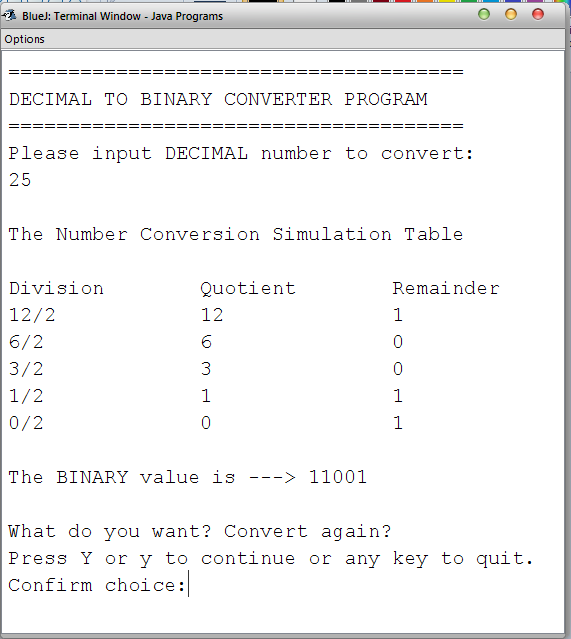 Binary conversion java code