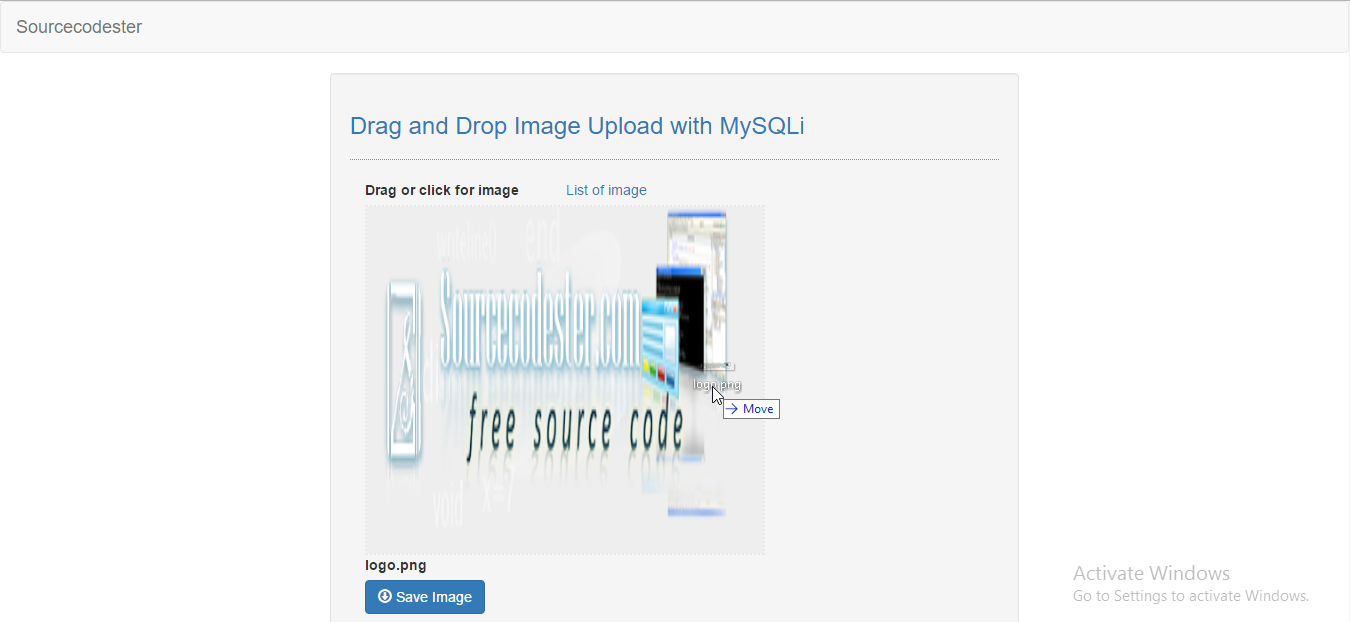 simple drag and drop image upload with mysqli
