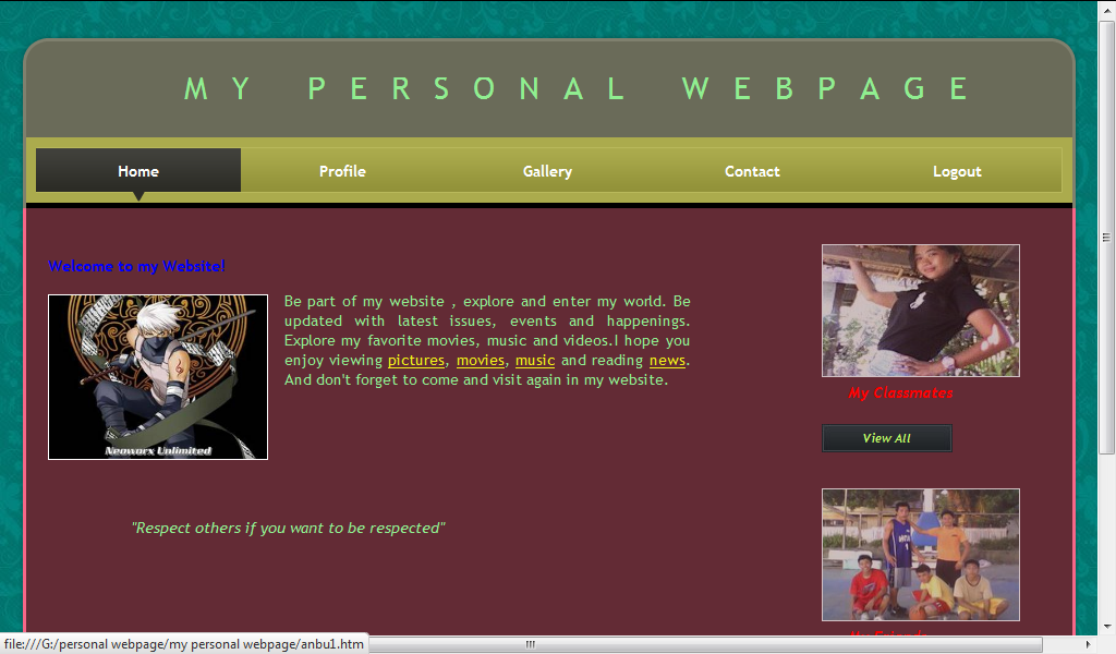 My Personal Webpage Free Source Code Projects Tutorials