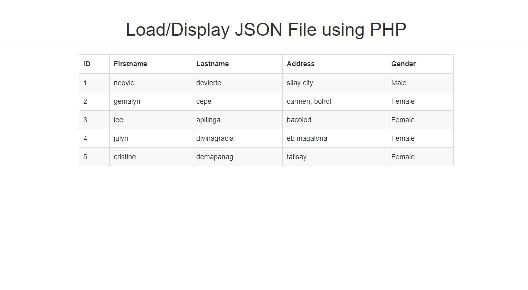 How to load/display JSON File using PHP | Free Source Code