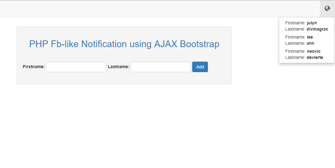 PHP Facebook-Like Notification using AJAX Bootstrap | Free Source