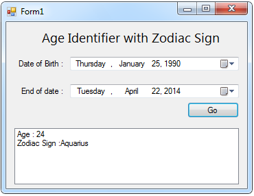Age Identifier with Zodiac Sign | Free Source Code & Tutorials