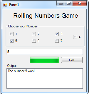 Rolling Numbers Game in Visual Basic 2008 | Free Source Code