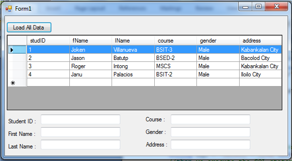 How to Display Selected Row from Datagridview into Textbox using C#