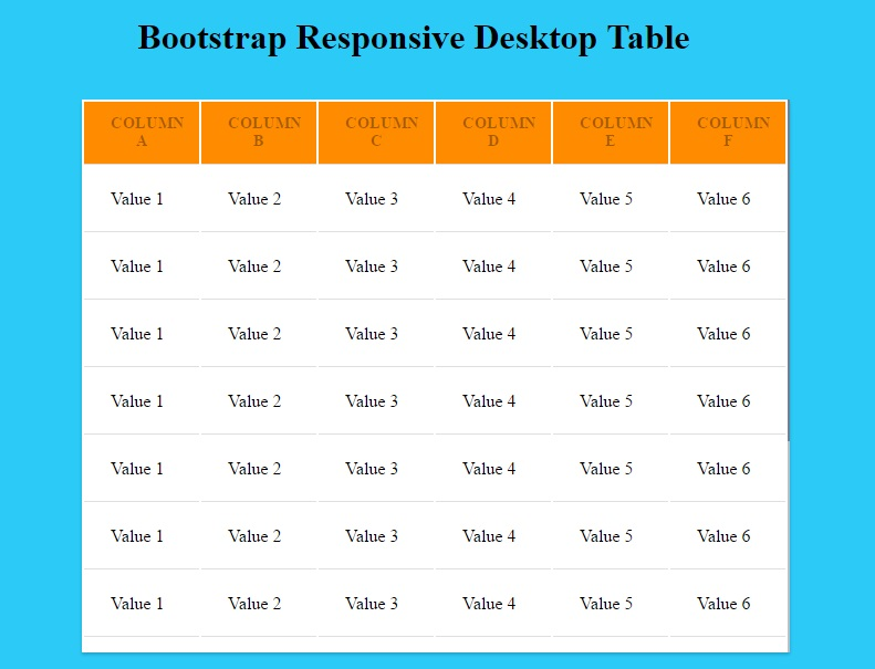 Bootstrap responsive desktop table free source code for Bootstrap table title