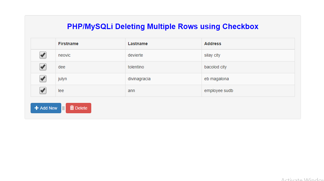 Deleting Multiple Rows using Checkbox in PHP/MySQLi | Free Source