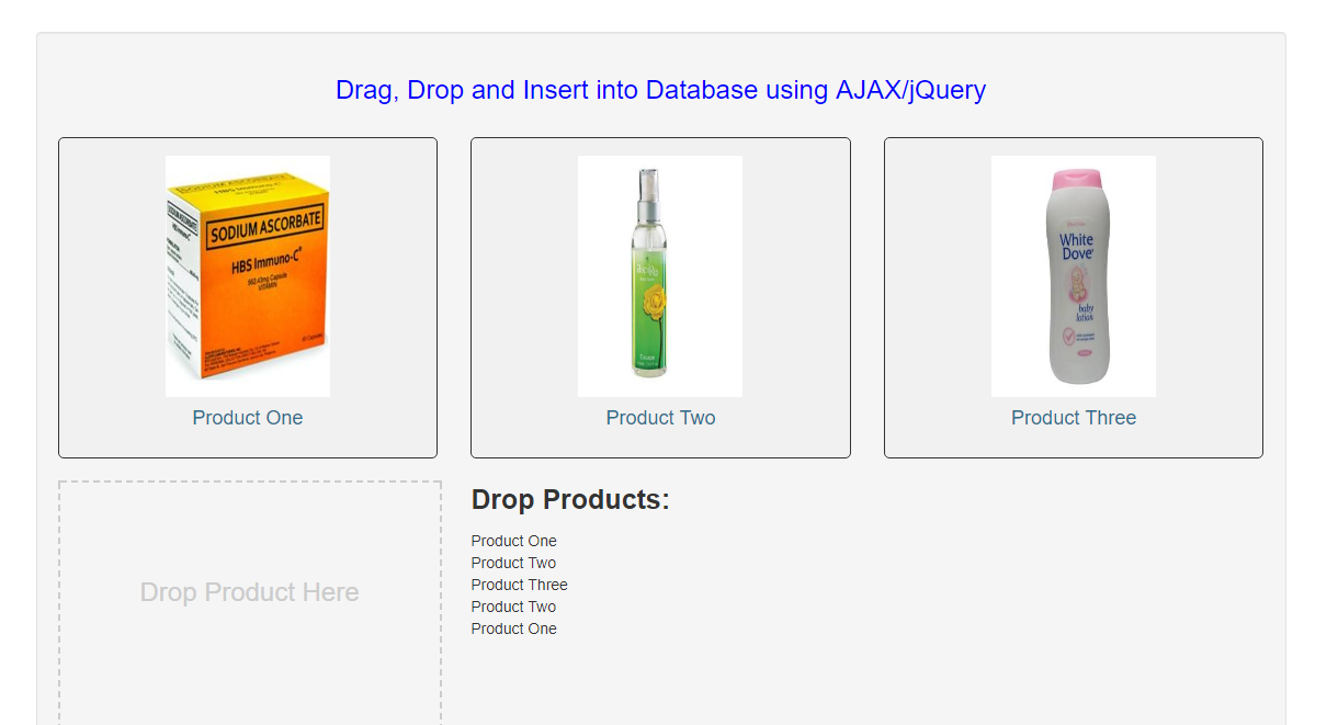 Drag, Drop and Insert into Database using AJAX/jQuery in PHP