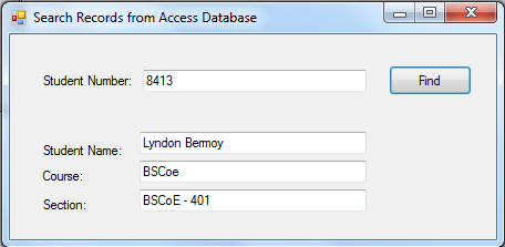 Search and Retrieve a Record from Access Database and VB NET