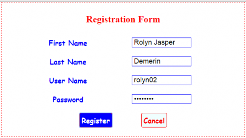 Write an html program to create registration form