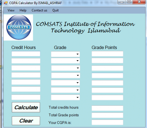 Cgpa calculator free source code tutorials and articles the main feature of this project you can easily calculate your cgpa mean you need not to say any one that he calculate your cgpa now ccuart Gallery