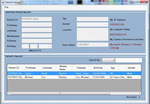 Patient's Record using MS Access Database | Free source code ...