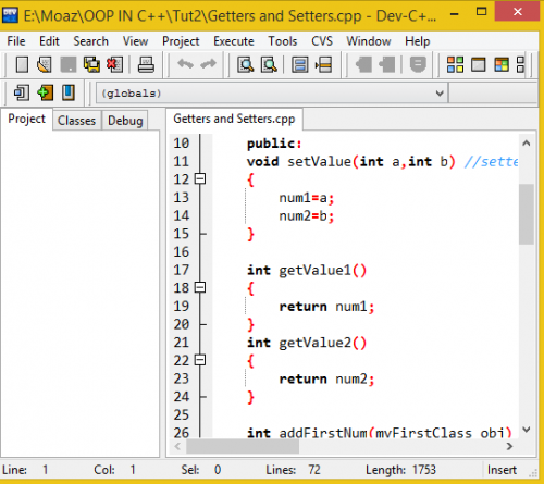 Setter and Getter functions in C++   Free Source Code