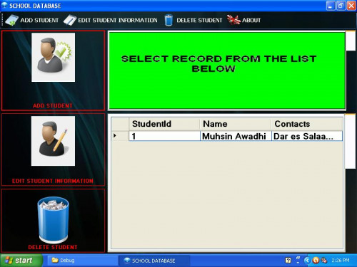 SIMPLE SCHOOL DATABASE WHICH DEMONSTRATE HOW TO USE MICROSOFT SQL SERVER COMPACT V 3.5