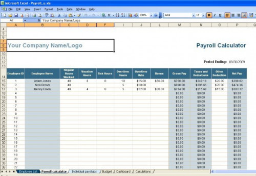 Payroll Excel Template. excel payroll calculator template software ...
