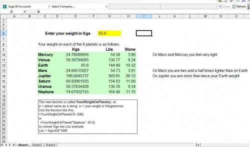 Calculate Your Weight on Other Planets using Excel | Free source ...