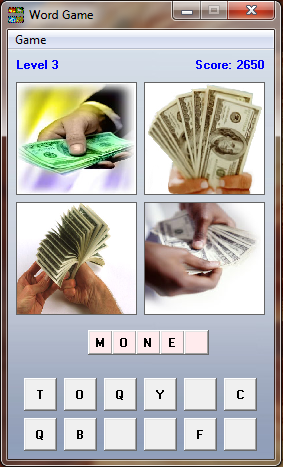 Four Pics One Word Game - VB6 Version | Free Source Code & Tutorials