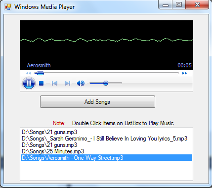 C windows forms media player