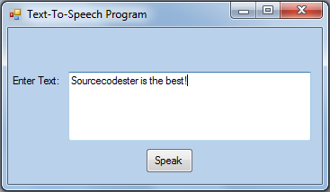 Text-To-Speech Application in VB.NET | Free source code
