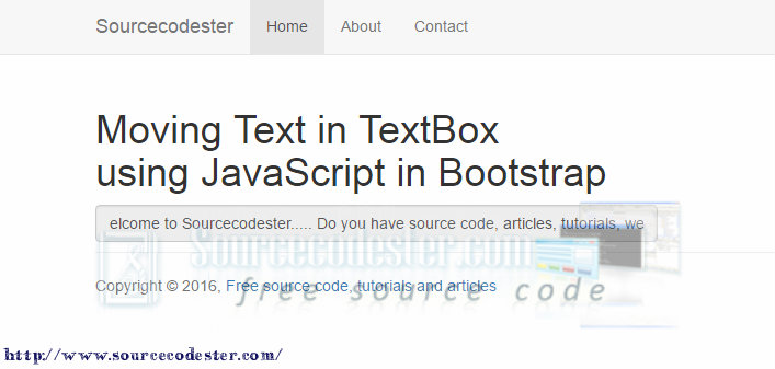 Moving Text in TextBox using JavaScript in Bootstrap | Free Source