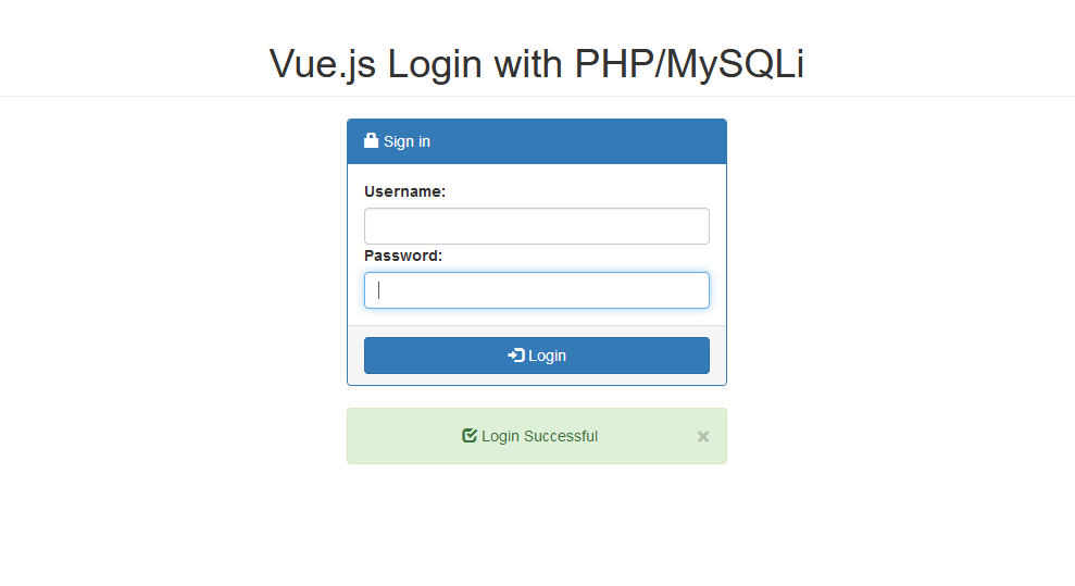 Vue js Simple Login with PHP/MySQLi | Free Source Code
